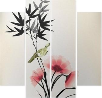 Quadriptychon Chinesische Tusche Stil Blume Vogel Zeichnung