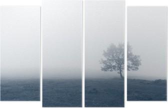 Quadriptychon Einsamer Baum mit Nebel