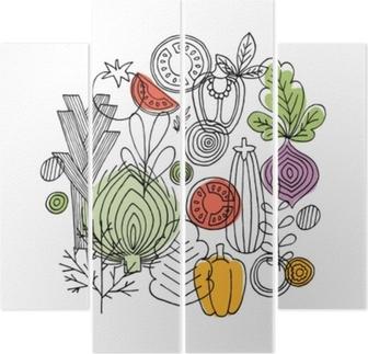 Quadriptychon Gemüse runde Zusammensetzung. lineare Grafik. Gemüse Hintergrund. skandinavischer Stil. gesundes Essen. Vektor-Illustration