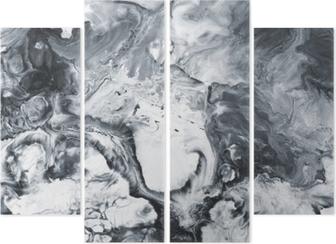 Quadriptychon Schwarz-Weiß-Marmor abstrakten handgemalten Hintergrund
