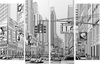 Quadriptychon Straße in New York City