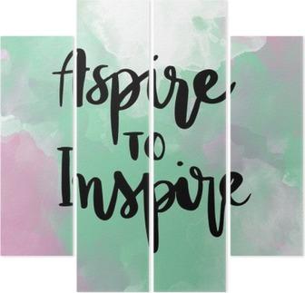 Quadriptych Oppfordre til å inspirere inspirerende håndbokstappemeldinger på fargerik bakgrunn