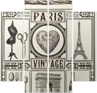 Quadriptych Plakat Paris Vintage