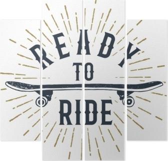 Quadriptyque Badge sur le thème des années 90 dessiné à la main avec illustration vectorielle texturé de planche à roulettes et lettrage inspirant «prêt à rouler».