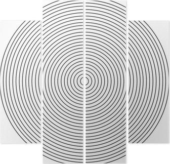 Quadriptyque Élément de cercle concentrique sur fond blanc