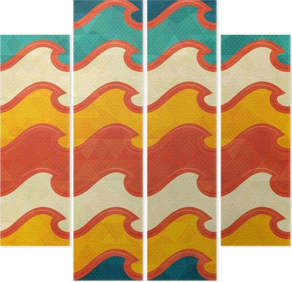 Quadriptyque Modèle sans couture de vague de couleur chaude • Pixers ...