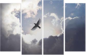 Quadriptyque Oiseau ange dans le ciel