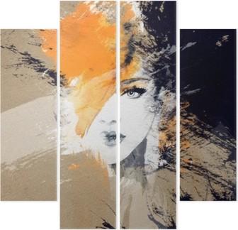 Quadriptyque Portrait de femme. aquarelle abstraite. mode arrière-plan