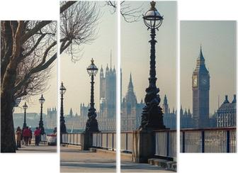 Quadriptyque Promenade à Londres avec vue sur Big Ben et les Chambres du Parlement