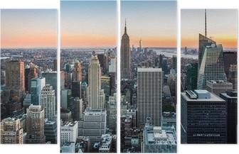 Quadriptyque Skyline de New York au coucher du soleil
