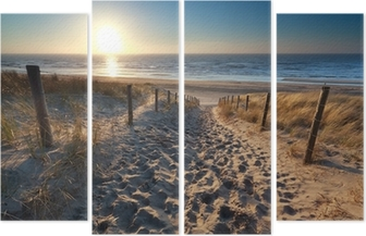 Quadriptyque Soleil sur le chemin de la plage dans la mer du Nord