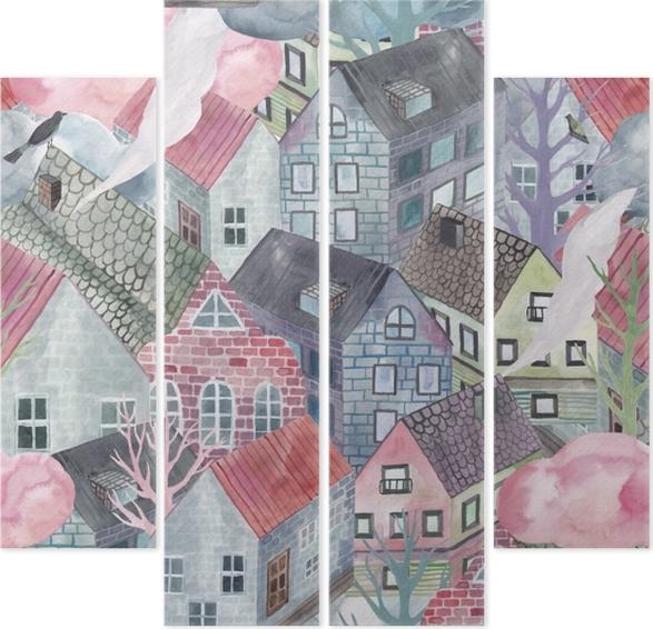 Quadriptyque ville grise - Tatiana - Artistes contemporains