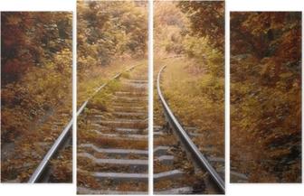 Quadrittico Binario ferroviario in autunno