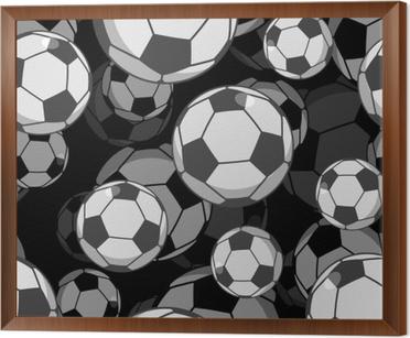 66fc6b456a Quadro com Moldura Esfera de futebol 3d padrão sem costura. ornamento  acessório esportivo. assim
