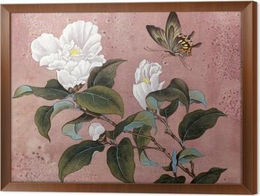 Quadro com Moldura Flor da azálea e borboleta