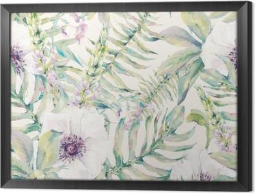 Quadro com Moldura Folha Watercolor padrão sem emenda com samambaias e flores