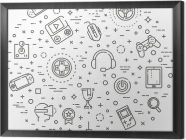 Quadro com Moldura Ícones de jogos de vídeo, design de linha simples e fina