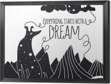Quadro com Moldura Ilustração vetorial romântico bonito com o cão olhando para a lua. Tudo começa com um sonho. Estrelas, montanhas e nuvens.