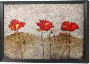 Quadro com Moldura Pintura a óleo abstrata da flor