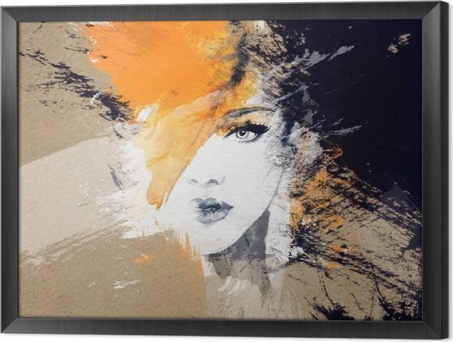 Quadro com Moldura Retrato da mulher. aquarela abstrata. fundo moda - Pessoas