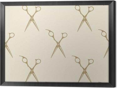 Quadro com Moldura Tesoura padrão de telha branco coleção etiqueta perfeita barbearia do vintage símbolo emblema