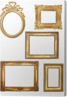 Quadro em Tela 5 cadres anciens en bois doré sur fond blanc