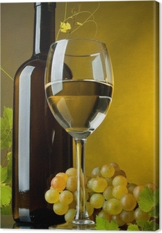 Quadro em Tela A glass of wine, bottle and grapes