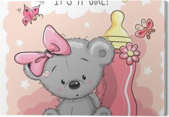 Quadro em Tela A menina bonito do urso dos desenhos animados