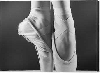 Quadro em Tela A photo of ballerina's pointes on black background