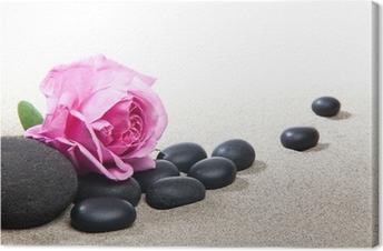 Quadro em Tela Ambiance zen - rose et pierres noires