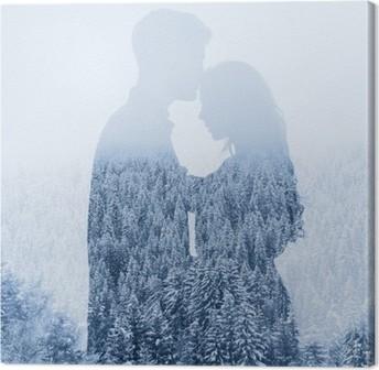 Quadro em Tela Amo no inverno, silhueta dos pares no fundo da floresta, dupla exposição