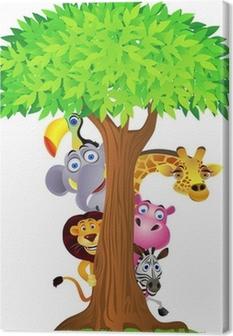 Quadro em Tela Animal hiding behind tree
