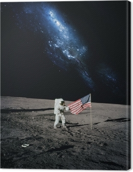 Quadro em Tela Astronaut walking on moon. Elements of this image furnished by N
