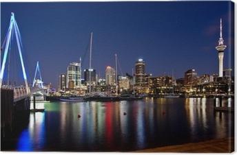Quadro em Tela Auckland, New Zealand, Skyline at Night with Bridge