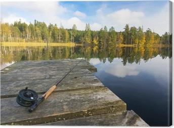 Quadro em Tela Autumn fly fishing in the lake