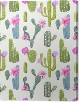 Quadro em Tela Background Cactus vetor. Padrão repetido. Planta exótica. Trópico