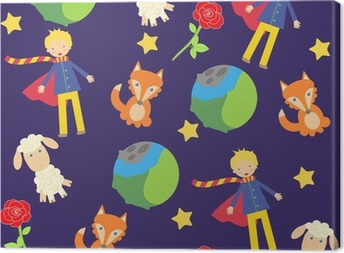 Quadro em Tela background with The little prince characters
