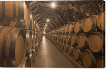Quadro em Tela Barriles de vino en la bodega