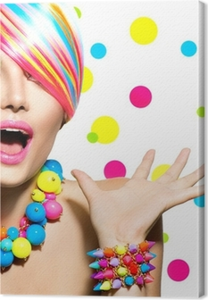 Quadro em Tela Beauty Portrait with Colorful Makeup Manicure and Hairstyle