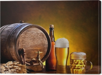 Quadro em Tela Beer barrel with beer glasses on a wooden table.
