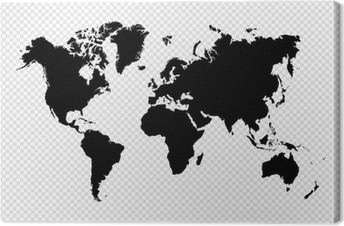 Quadro em Tela Black silhouette isolated World map EPS10 vector file.