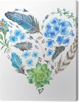 Quadro em Tela Boho Style Watercolor Heart Shape