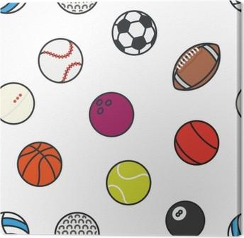 f3cee70711 Quadro em Tela Bolas de esportes de padrão sem costura conjunto de ícones  de vetor de