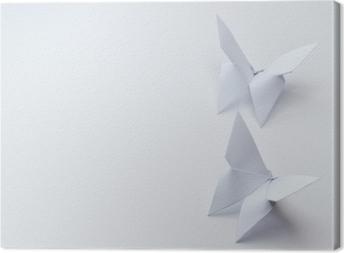 Quadro em Tela Borboletas de origami em fundo branco
