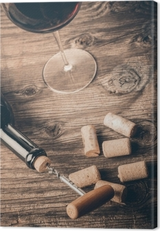 Quadro em Tela Bottle of wine with corkscrew on wooden background
