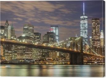 Quadro em Tela Brooklyn Bridge and Downtown Skyscrapers in New York at Dusk