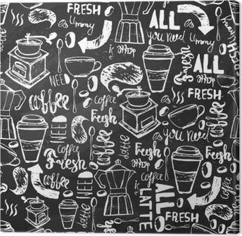 Quadro em Tela Café desenhada à mão padrão sem emenda sem emenda. Teste padrão do café com letras. vetor padrão de café no fundo escuro para o acondicionamento, banners.