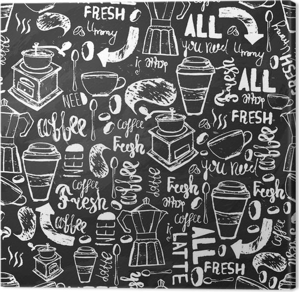 Quadro em Tela Café desenhada à mão padrão sem emenda sem emenda. Teste padrão do café com letras. vetor padrão de café no fundo escuro para o acondicionamento, banners. - Comida