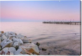 Quadro em Tela Cais Báltico em Gdynia Orlowo ao pôr do sol, a Polónia