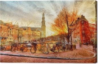 Quadro em Tela Canal de Amsterdã na noite pintura impressionista